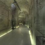 Nach dem Tod Kaiser Karls VI. wurde die Bautätigkeit 1740 eingestellt. In dieser Zeit nur grob verputzte Gewölbegänge werden heute für Ausstellungen genutzt.