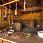 Carnuntum Petronell: Küche im Hauptgebäude