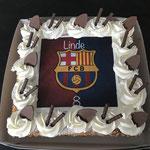 Slagroomtaart met Barcelona print
