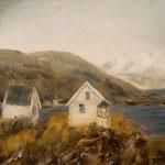 Houses at Bodø port, 30x30cm