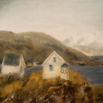 Houses at Bodø port, Nordland, 30x30cm
