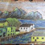 Nyksund, Vesterålen, painted on driftwood
