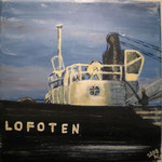 MS Lofoten, the oldest Hurtigruten steamer still in regular service, 30x30cm