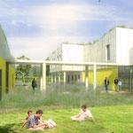 Combs-la-Ville (77)/ aménagement des espaces extérieurs d'un centre d'éducation fermé / Date: 2008-2011 / Maîtrise d'ouvrage: ministère de la justice / Partenaires: bja arch. (mandataire) / Surface: 7 500 m² / Budget: 307 500 € HT / Mission: Concours +MOE