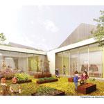 Ennery (95)/ Aménagement des abords d'un centre petite enfance et de son jardin pédagogique / Date: 2012 / Maîtrise d'ouvrage: C.C. de la Vallée de Sausseron / Partenaires: BJA arch. (mand.) / Surface: 2 500m² / Budget :  255 000 € / Mission : Concours