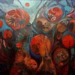 Mirándose el Ombligo - Óleo y mixta sobre lienzo - 162 x 130 cm.
