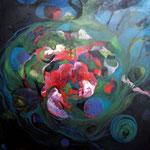 Entre Dos Mares - Óleo y encáustica sobre lienzo - 100 x 100 cm.