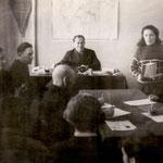 Заседание правления колхоза. Заседание ведет Председатель колхоза Шагимарданов М.М.Середина 70-х годов