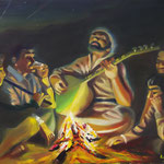 """Saz at Campfire"", oil, canvas, 60x80cm, 2013"