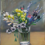 """Field Flowers in a Tablet Glass"", oil, canvas, 24x30cm, 2014"