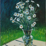"""Chamomiles in a Glass Vase"", oil, board, 30x40cm, 2014"