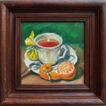 """A Cup of Tee with a Mandarin"", oil, board, 20x20cm, 2014"