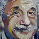 """Einstein - Face Metamorphosis"", oil, board, 13x18cm, 2014"