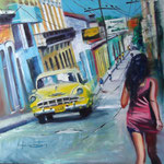 """Walking through Santiago de Cuba"", oil, board, 100x100cm, 2014"
