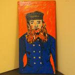 Omaggio a Van Goch; 2017/2018; acrilico su tela e cornice in legno in acrilico e fogiia oro. Istituto penale  per minorenni  di Pontremoli e Bicocca