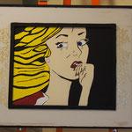 Omaggio a Lichtenstein; Donna che piange; 2017/2018; Acrilico su tela e cornice acrilica; Istituto penale x minorenni di Pontremoli (MS)