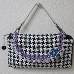 KAWAGUTI 手づくりの素 長財布 (千鳥格子の織りとタティングレース)