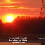 Sonnenuntergang in Baumberg am Rhein. September 2014