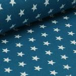 Jersey petrol mit weißen Sternen ca. 10mm