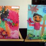 22 Nahuel Gomez- Gusanito-cartón entelado / 3 Esteban Ibañez-Un nene jugando a las escondidas-cartón entelado
