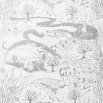 LANDSCAPE in Jensengrau ist eine handgedruckte Tapete von PRINT GARDEN Tapetenmanufaktur in Hamburg