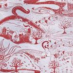 LANDSCAPE in Permanentrot ist eine handgedruckte Tapete von PRINT GARDEN Tapetenmanufaktur in Hamburg