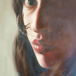 GIRL WITH A BUG No.3 • 100x80 CM • OIL ON CANVAS • 2012 • PRIVATE COLLECTION