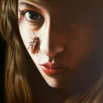 GIRL WITH A BUG No.4 • 60x50 CM • OIL ON CANVAS • 2012 • PRIVATE COLLECTION