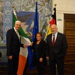 Vortrag des irischen Botschafters Michael Collins, 03.05.2017 (Botschafter Michael Collins, Bürgermeisterin Marion Schäfer-Blake, Matthias Fleckenstein)
