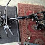 CX500 Rahmen - Lenker und Elektrik eingebaut