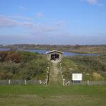 Aussichtshütte an den Schönungsteichen. Klärteiche Norderney