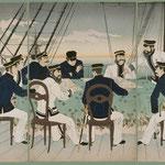 海軍将校等征清の戦略を論する図