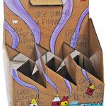 """""""porta lattine (di birra)"""" (c) acrilici e segni a matita su cartone cm19,5x13x29"""