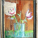 """""""ciclamini d'inverno"""" acrilici su pezzo di legno in vecchia cornice cm24,5x20"""