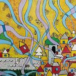 """""""villaggio in festa"""" carta su legno e acrilico cm60x90"""