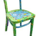 """""""green chair"""" (a) acrilici e tratto a matita su sedia Ikea"""