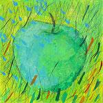 """""""la Mela azzurra"""" acrilici e tratto a matita su tela cm23.5x23.5 - La mela nel prato, non aveva i colori dell'autunno perché bagnata dalle lacrime del guerriero che sopra gli stava."""