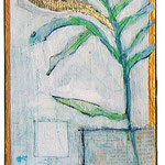 """""""felce d'Autunno""""  colori acrilici e foglia oro con graffi a matita su legno cm12x33"""