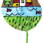 """""""foglia per regalo"""" acrilici rifiniti con vernice all'acqua cm12x4"""