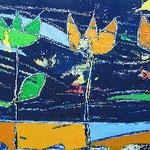 """""""graffi su fiori di notte"""" acrilico a spatola e pennelli su compensato cm28,5x68,3"""