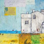 """""""casale in riva al mare"""" acrilici su materiale cartonato, sopra vecchia stampa cm70x50"""