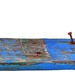 """""""regata""""asse e chiodi colorati con acrilico recuperati alla Laguna del Mort (Eraclea)cm56x11,5"""