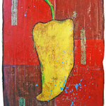 """""""peperoncino giallo"""" acrilici e inserti in foglia oro con graffi a pastello su cartone d'imballo cm65x100"""