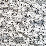 """""""case (rientro) """" acrilico su asse di legno cm88,5x19,5"""