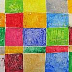 """""""colori a scacchi 4"""" acrilici su pannello di polistirolo cm182x60"""