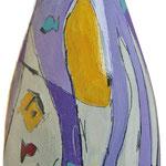 """""""bottiglia per un grazie"""" (b) acrilici e tratti a matita su bottiglia in vetro per spumante"""