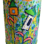 """bidone per carta"" acrilico e carboncino con pennarelli acrilici cm44,5x31,50"
