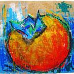 """""""Caco di cartone piccolo"""" colori acrilici, carboncino e gessi colorati su cartone d'imballo cm21,5x22"""