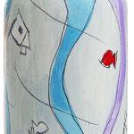 """""""Bottiglia di vino trentino"""" (a) (75cl.) acrilici e tratto a matita su vetro"""