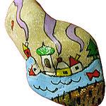 """""""sassetto per Mara"""" acrilico con foglia oro su sasso di mare cm6x2,5"""